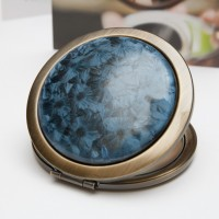 Ceramic Portable Makeup Mirror - Black Crystal Style