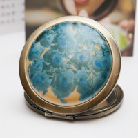 Ceramic Portable Makeup Mirror - Blue Crystal Style
