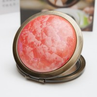 Ceramic Portable Makeup Mirror - Red Crystal Style