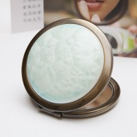 Ceramic Portable Makeup Mirror - Light-Blue Crystal Style