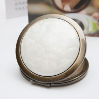 Ceramic Portable Makeup Mirror - White Crystal Style